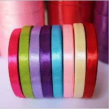 25 yards roll 6mm width colorful silk satin ribbon wedding