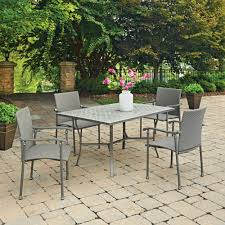 Outdoor Table Ls Umbria Concrete Tile 5 Pc Rectangular Outdoor Table 4 Chairs