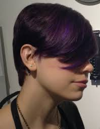 cool short haircut with purple highlights indianapolis hair
