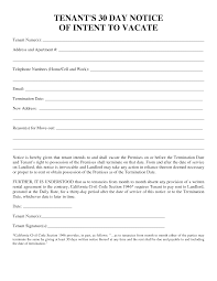 Terminate Lease Letter 30 Day Notice Forms Templates And Samples