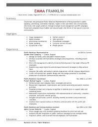 public relations sample resume public relations internship resume
