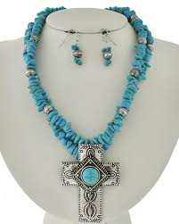 light blue statement necklace southwestern beaded light blue stone cross statement necklace