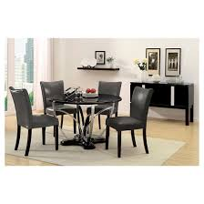 Chrome Pedestal Iohomes 5pc Fountain Chrome Pedestal Round Dining Table With Gray
