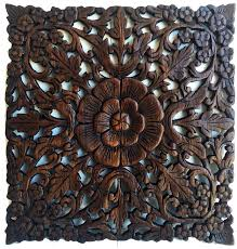 asian imports square carved teak wall décor reviews wayfair