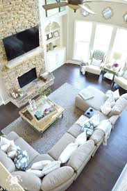 two story living room design a living room for two story living room with stacked stone