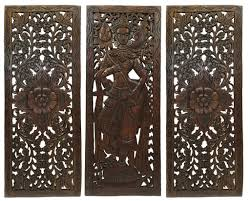 Balinese Home Decor Multi Panels Oriental Home Decor Wood Carved Floral Wall Art