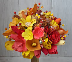 wooden flowers fall corn husk and wooden flowers accents and petals