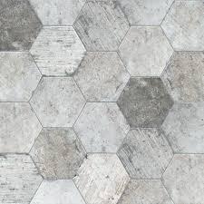terra hexagon grey mix earth porcelain tiles by oiba