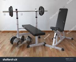 barbell bench weight dumbbells home 3d stock illustration