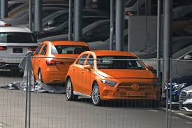 bright orange cars spyshots 2018 mercedes benz a class hatch and sedan completely