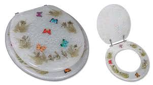 Toilet seats with lifelike butterflies seahorses and fish themes
