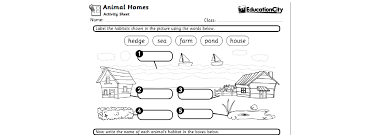 worksheets on animals u0026 their habitats education city