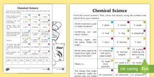 year 2 chemical science questions and colouring activity sheets