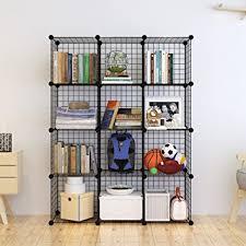 Cube Storage Shelves Bookcases Amazon Com Tespo Metal Wire Storage Cubes Modular Shelving Grids