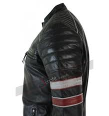 Black Racing Biker Red White Stripes Jacket