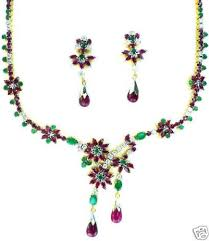 gold diamond emerald necklace images Gold plated designer ruby emerald necklace with earrings gleam jewels jpg