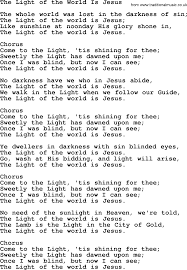 I Was Blind But Now I Can See Baptist Hymnal Christian Song The Light Of The World Is Jesus