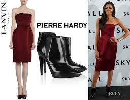 naomie harris u0027 lanvin strapless dress and pierre hardy ankle boots