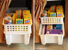 organizing tips for under the sink from messy to organized