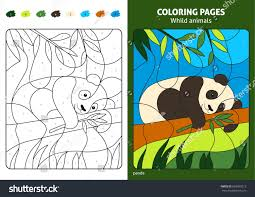 wild animals coloring page kids panda stock vector 603599213