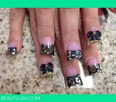gold swag and 3d bows nails b u0027s photo beautylish