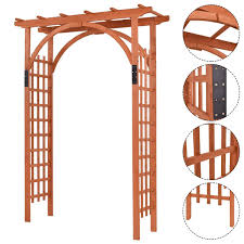 amazon com giantex outdoor wooden garden arbor arch trellis