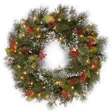 battery operated wreath national tree company 24 in wintry pine artificial wreath with