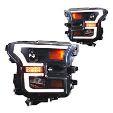 Led Light Bar Headlight by F 150 Projector Headlights With Drl Bar W Halogen Headlights 2015 17