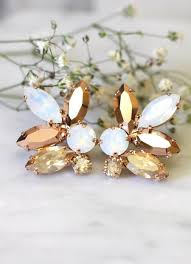 white opal earrings rose gold champagne cluster earrings swarovski crystal earrings