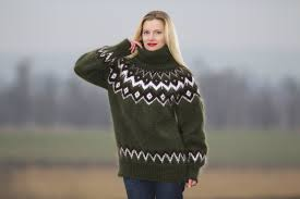 sweaters women u0027s green turtleneck hand knitted mohair icelandic