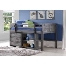 Bed Shelf Donco Kids Low Study Loft Desk Twin Bed With Chest And Bookcase