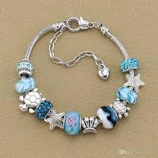 crystal charm bracelet beads images Ocean series blue crystal glass bead beach bracelet starfish shell jpg