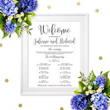 wedding program board wedding program sign poster chic calligraphy wedding program