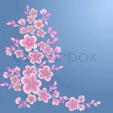 blossom japanese cherry tree branch design element