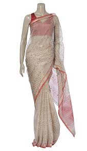 arong saree white and golden printed and embroidered muslin saree