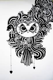 black and white owl drawing