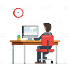 Business Computer Desk Business Working On Computer Stock Vector More Images Of