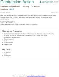 contraction action lesson plan education com