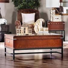 Trunk Style Coffee Table Furniture Of America Dravens Industrial Trunk Style Coffee Table