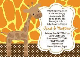 gender neutral giraffe baby shower invitation