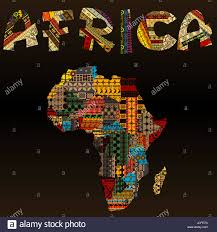 Map Fabric Africa Map With African Typography Made Of Patchwork Fabric