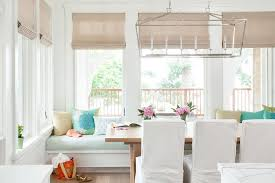 Beachy Dining Room by Beach Cottage Built In Dining Bench And Window Seat Transitional