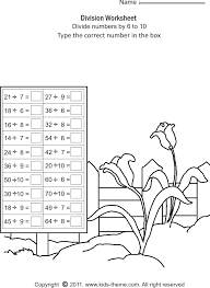 division worksheets divide numbers by 6 to 10
