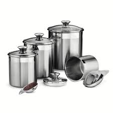 gourmet 8 pc stainless steel kitchen canister set