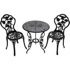 Cast Iron Bistro Table 3pc Patio Bistro Furniture Set Outdoor Garden Iron Table Chair