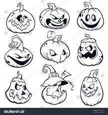 halloween pumpkins curved jack o lantern stock vector 726522631