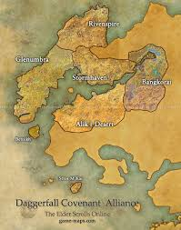 Elder Scrolls World Map by Daggerfall Covenant Alliance Map Eso Game Maps Com