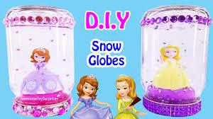 how to make diy custom glitter snow globes toy crafts sofia the