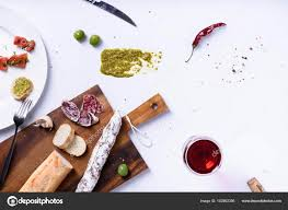 Indian Food Olives From Spain Salami Olives And Baguette Traditional Fuet Snack Above