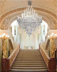 Home Interior Lamps Luxurious Crystal Chandelier Foyer Design Brighten Staircase And